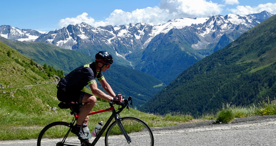 Jim conquering the Gavia Pass from Pont di Legno