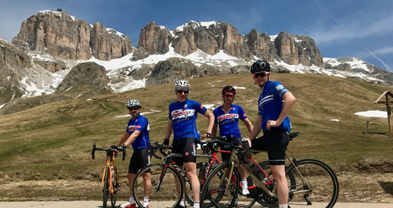 At the summit of the Pordoi pass mid way round the Sella Ronda
