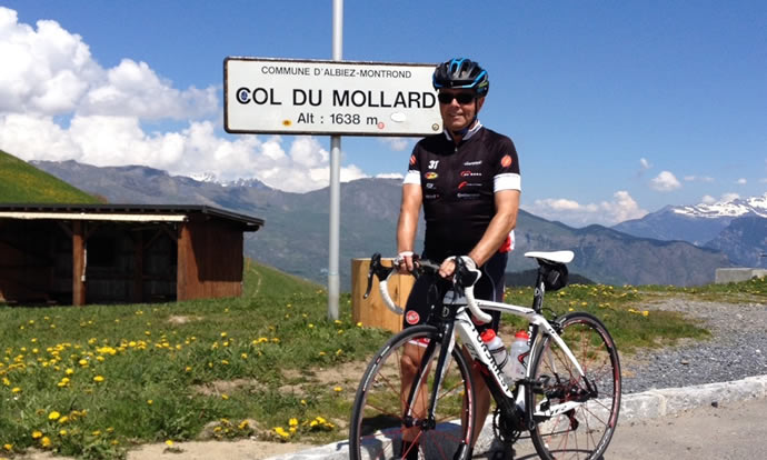 Coach Ray Sells at the Col du Mollard in the Alps.