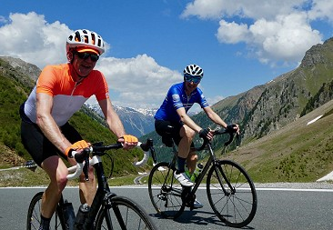 Rob cycling Stelvio with Richard